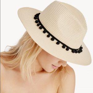 Sole Society Panama Straw Pom Pom Hat